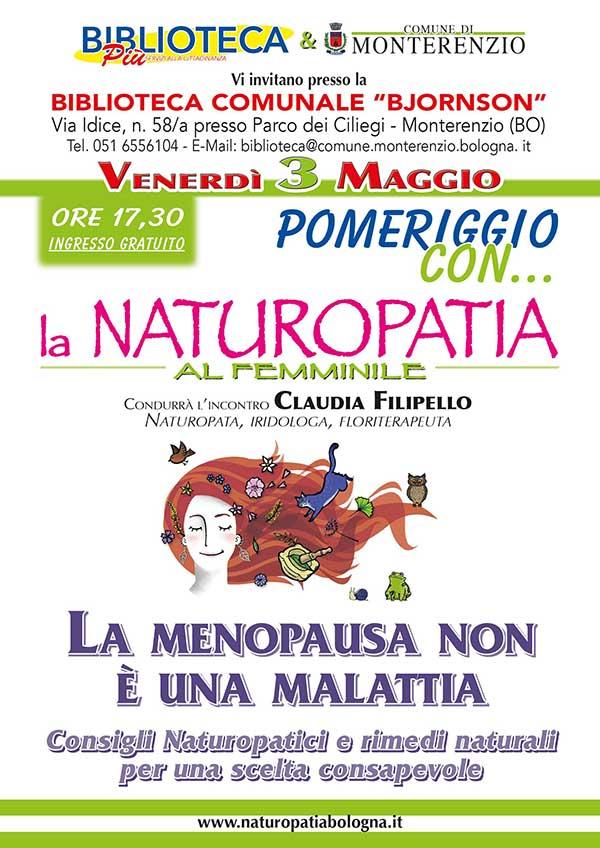 Claudia Filipello, naturopata, incontro sulla menopausa a Monterenzio